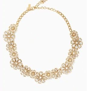 KATE SPADE CLEAR AS CRYSTAL FLORAL SHORT NECKLACE